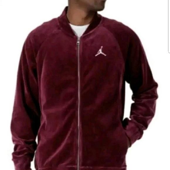 Jordan Mens Velour Jacket Bordeaux